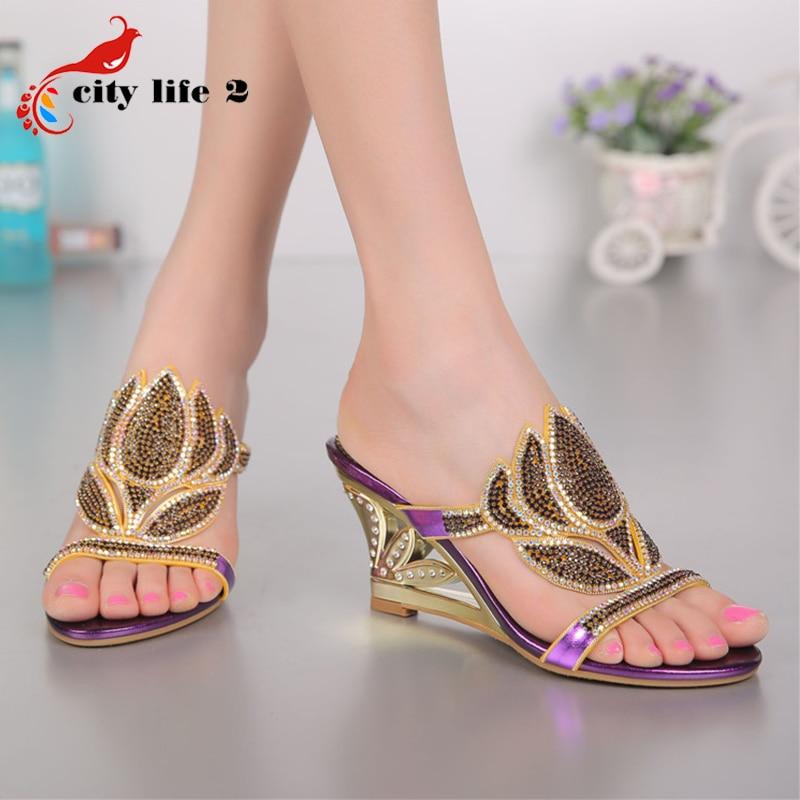 font b Women b font Wedged Sandals Big Size 40 44 New 2016 Diamond Cool