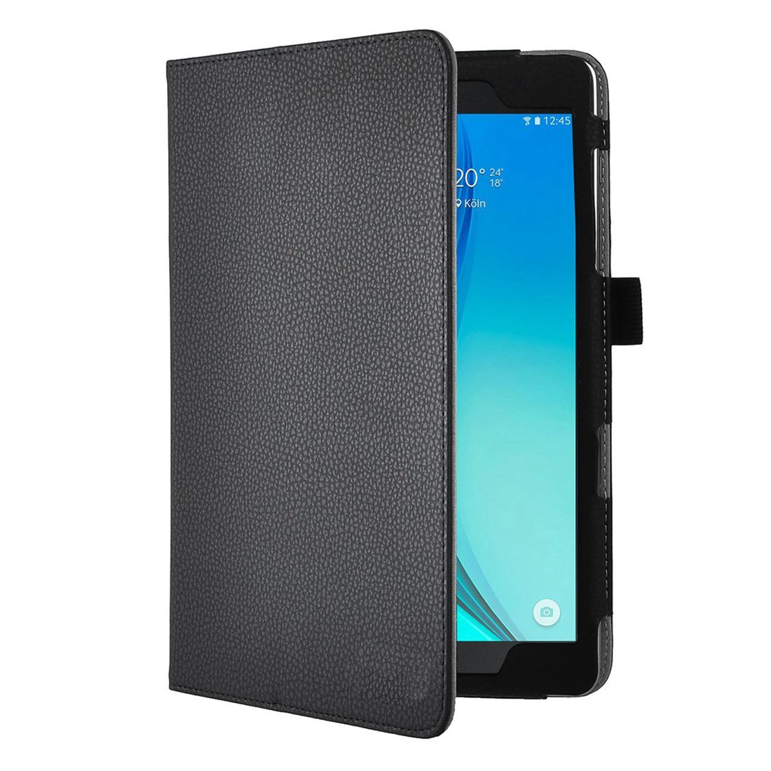 PU Leather Slim-Book Case Ultra-Slim and Ultra-light  Folio  Stand Cover for Samsung Galaxy Tab S2 Nook 9.7-Inch Tablet (Black) ultra slim folio stand print flower pu leather case protective cover for samsung galaxy tab s 8 4 t700 t701 t705 t705c tablet
