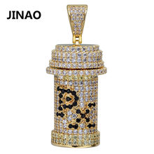 JINAO Neue Hüfte Hop Gift Halskette PX Toxicant Gift Fläschchen Flasche Anhänger Halskette CZ Stein Iced Out Gold Silber Farbe abnehmbare(China)