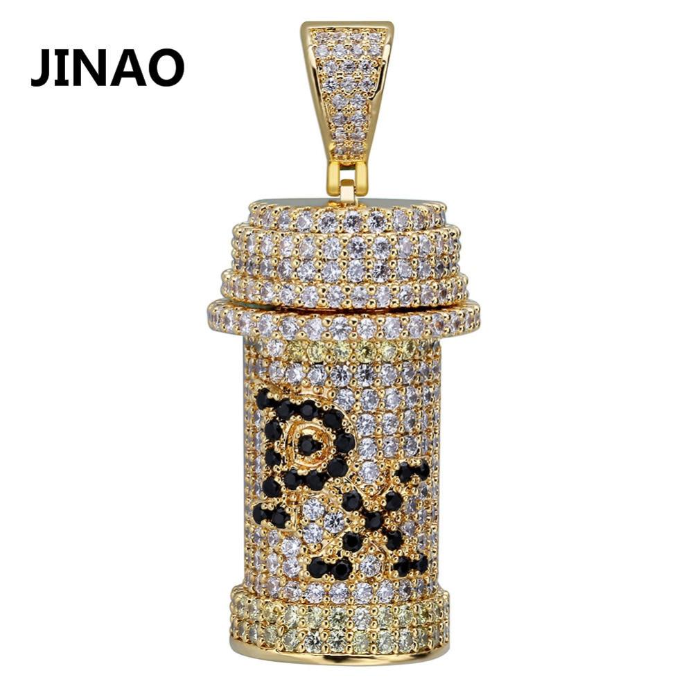JINAO New Hip Hop Poison Necklace PX Toxicant Poison Vial Bottle Pendant Necklace CZ Stone Iced Out Gold Silver Color Detachable
