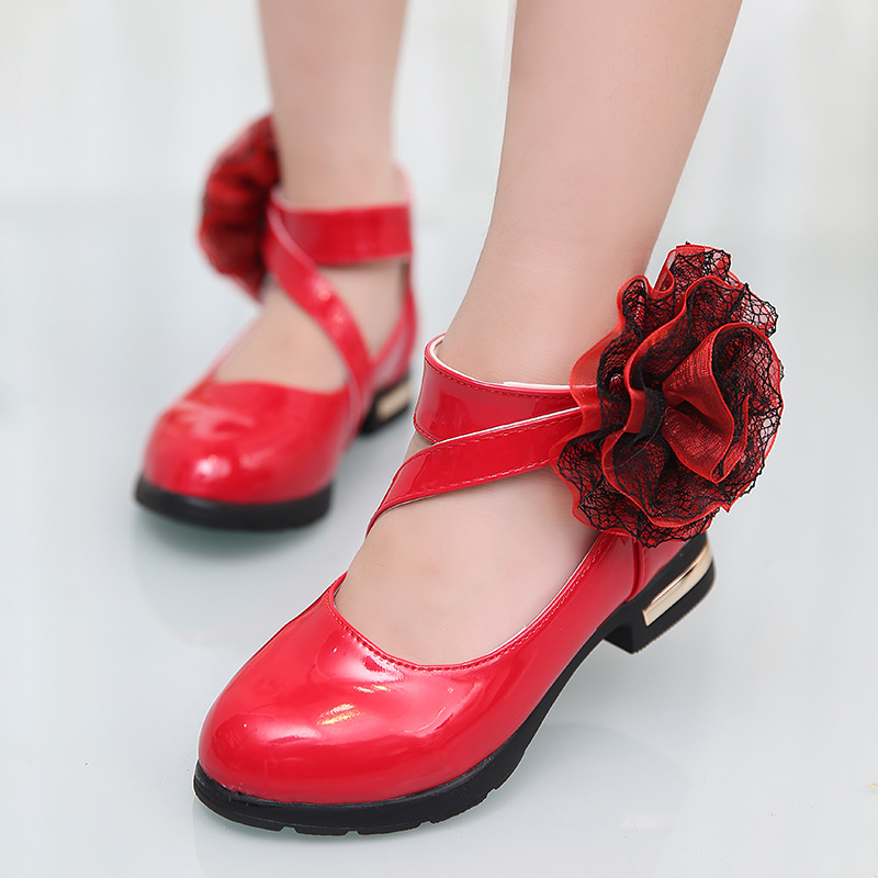 Black / red, pink girls princess shoes 2018 new style ...
