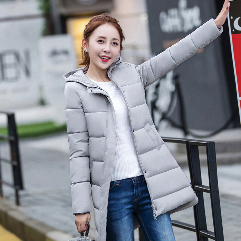 2017 Winter Coat Women Hooded Cotton Padded Parkas Girls Student Wadded Warm Jacket Outwear Female Middle Long Overcoat new wadded winter jacket women cotton long coat with hood pompom ball fashion padded warm hooded parkas casual ladies overcoat