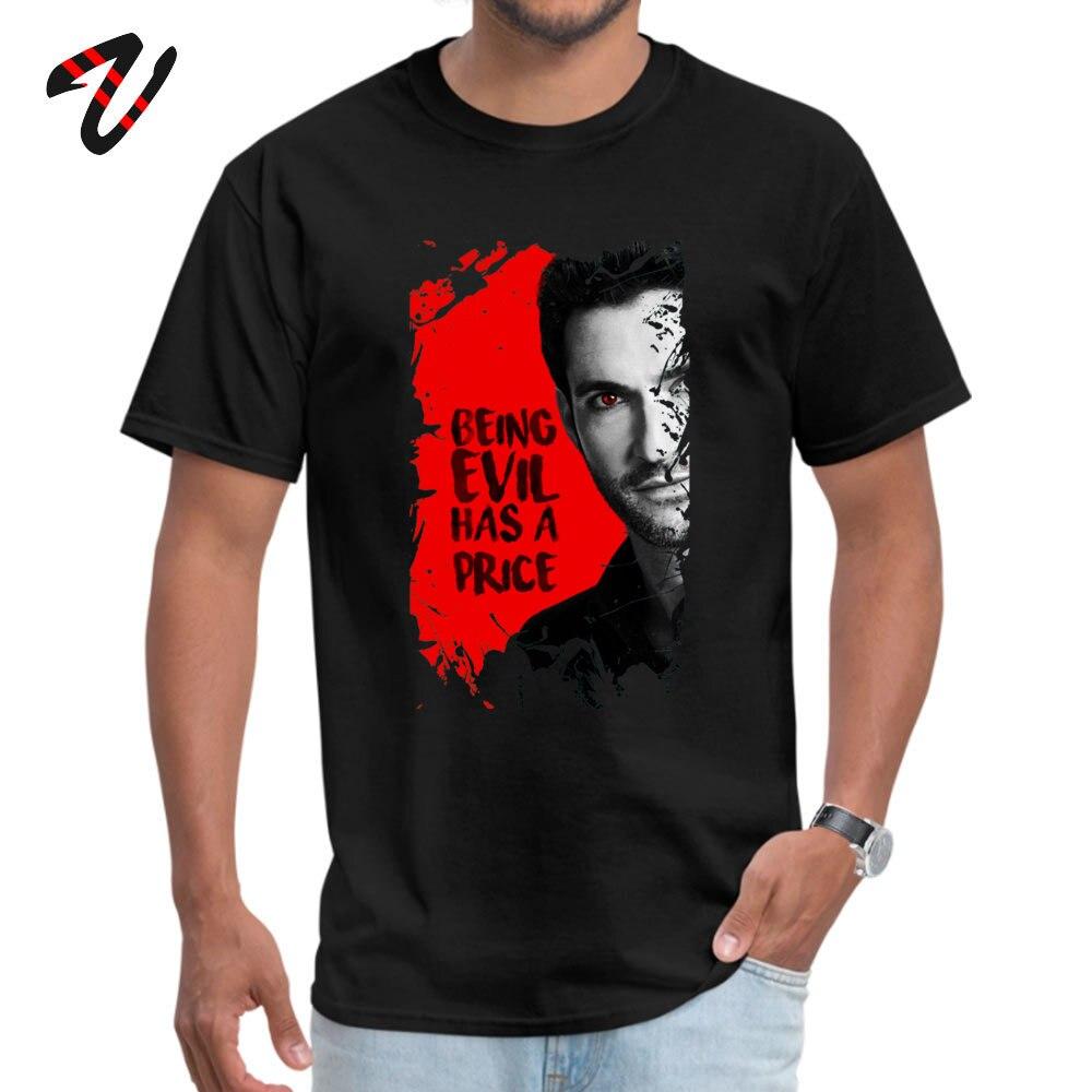 Lucifer Top T-shirts Cute Short Sleeve Custom Pure Cotton Crew Neck Men Tops Shirt Group T Shirt Thanksgiving Day Lucifer -21466 black