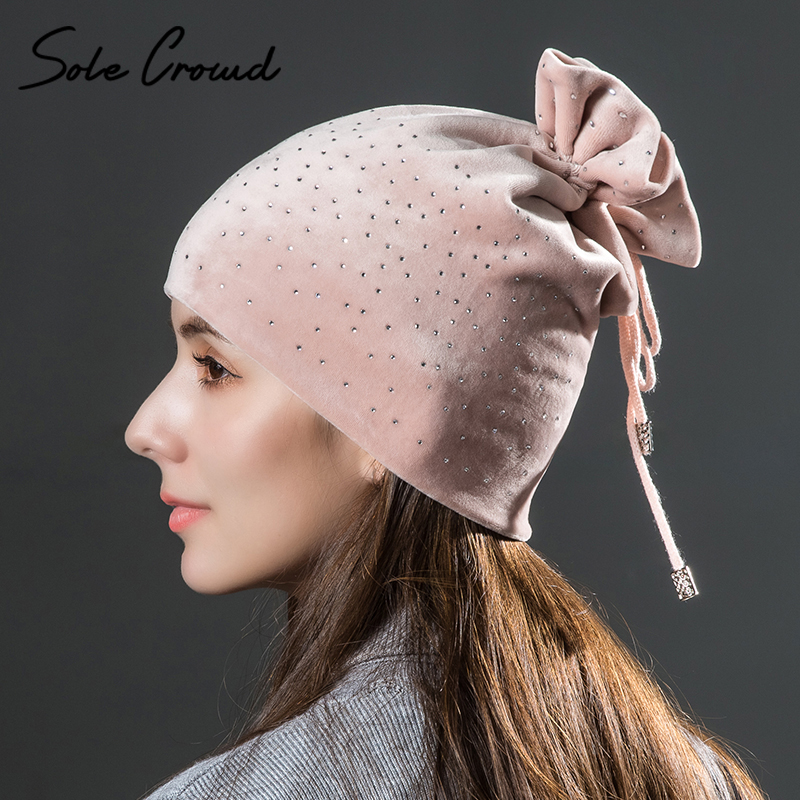 Semelle Foule 2017 De Mode de femmes strass velours chaud chapeaux d hiver  ensemble tête 13b16e4de35