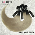 BQ Mink CABELO Extensões de Cabelo Ombre 3 Pacotes 8A Virgem Ombre Cabelo Humano Peruano light Grey, verde, cabelo Humano roxo