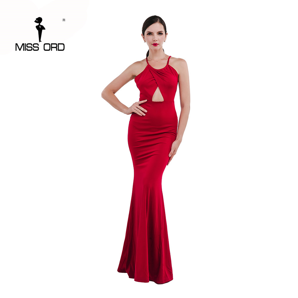 Gratis Pengiriman MISSORD 2018 Seksi tanpa lengan halter perpecahan maxi  dress FT4647 36bd7dea8a