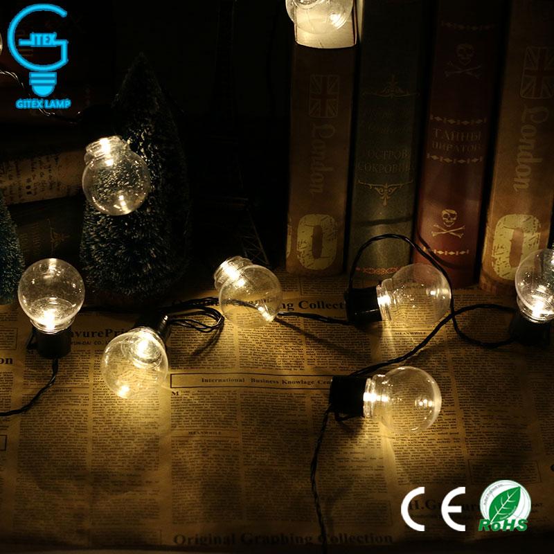Gitex Connectable Christmas Fairy Bulbs 20 LED Globe Festoon Party Ball String Light Wedding Garden Party Pendant Garland
