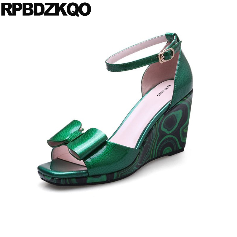 Women Genuine Leather Sandals Ankle Strap Summer Bowtie Wedge Shoes Green High Quality Patent Bow Open Toe Heels Luxury Pumps 2017 butterfly wings leather summer sandals women thin high heels pumps bowtie open toe buckle ankle strap wedding shoes woman