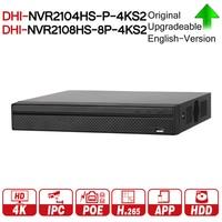 DH NVR2104HS P 4KS2 NVR2108HS 8P 4KS2 4CH 8CH POE NVR 4 K Регистраторы Поддержка HDD 4/8CH POE для видеонаблюдения Системы комплект безопасности