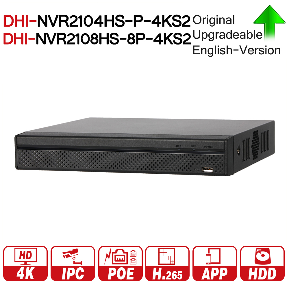 DH NVR2104HS P 4KS2 NVR2108HS 8P 4KS2 4CH 8CH POE NVR 4K Recorder Support HDD 4/8CH POE For CCTV System Security Kit