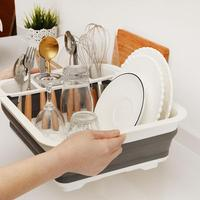 Folding Kitchen Drain Rack Dish Rack Cutlery Storage Box Collapsible Dish Drainer Cutlery Stand Cup Holder For kitchen supplier