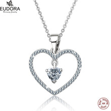 ФОТО 2016 new real 100% 925 sterling silver cute heart pendant necklace for women aaa cz fashion jewelry friendship accessories gift