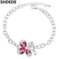 SHDEDE Four Leaf Clover Bracelets Crystal From Swarovski Wedding Bridal Bracelet For Women Female Ladies 16060