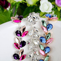 1Yard Resin Crystal Clear Glass Rhinestone Bridal Trim Fashion Chain Silver Crystal Flatback Loose Beads For