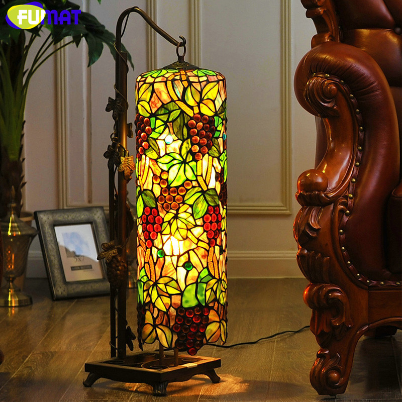 Fumat Stained Glass Table Lamp High Quality Classic Grape Art Glass Table Lamp Home Decor Living