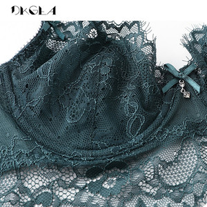 Image 5 - Conjunto de sutiã sexy oco plus size c d cup sutiã verde feminino conjuntos de lingerie bordados sutiãs cílios rendas conjunto de roupa interior transparente