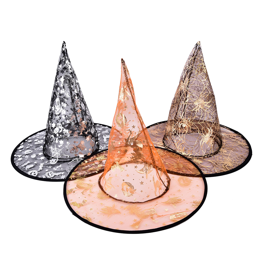 1PCS (Ramdon Color) Lovely Witch Hats Halloween Lovely Printed Wizard Multi Colors Beautiful Gauze Witch Hat Beauty Girl Gift