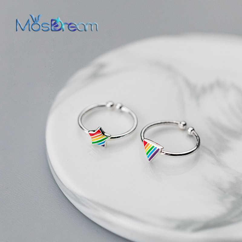 MosDream สายรุ้ง Lucky Star แหวนแฟชั่นเคลือบสีสัน S925 เงินแหวนหญิงเครื่องประดับสำหรับผู้หญิง Daliy ของขวัญ