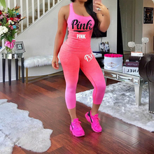 2019 Summer Newest Pink Letter Print 2 Piece Set Casual Tank Tops
