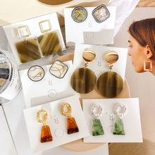 2019 Korea New Vintage Marble Acrylic Geometric Round Square Big Stud Earrings For Women Fashion Statement Resin Brincos