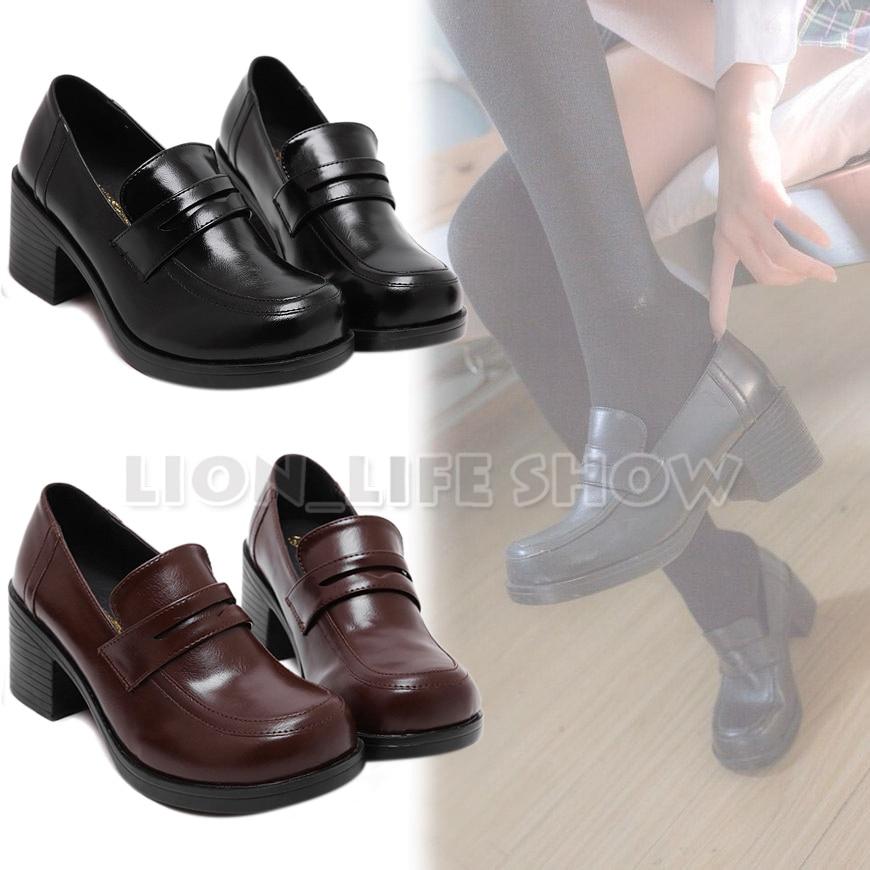 Universal Women Japanese School Uniform Student JK Leather Block High Heel <font><b>Shoes</b></font> for Cosplay Uniform