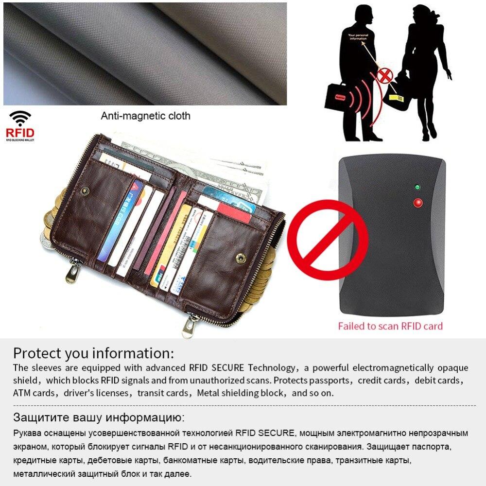 Crazy Horse Genuine Leather Men/'s Wallet Short Card Purse RFID Antimagnetic QU
