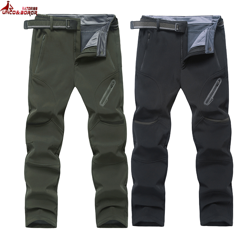 UNCO&BOROR plus size 7XL 8XL 9XL men Shark Skin Softshell winter waterproof pants outwear fleece Tourism Mountain male Trousers