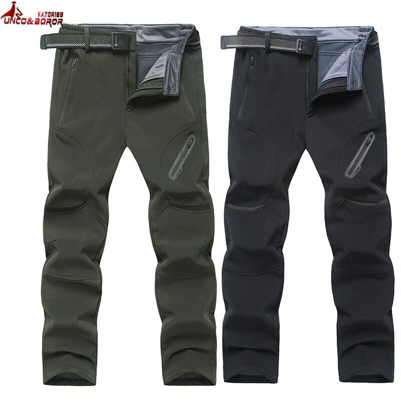 UNCO y BOROR plus tamaño 7XL 8XL 9XL los hombres de la piel de tiburón, Softshell invierno impermeable pantalones outwear de turismo de montaña hombre pantalones