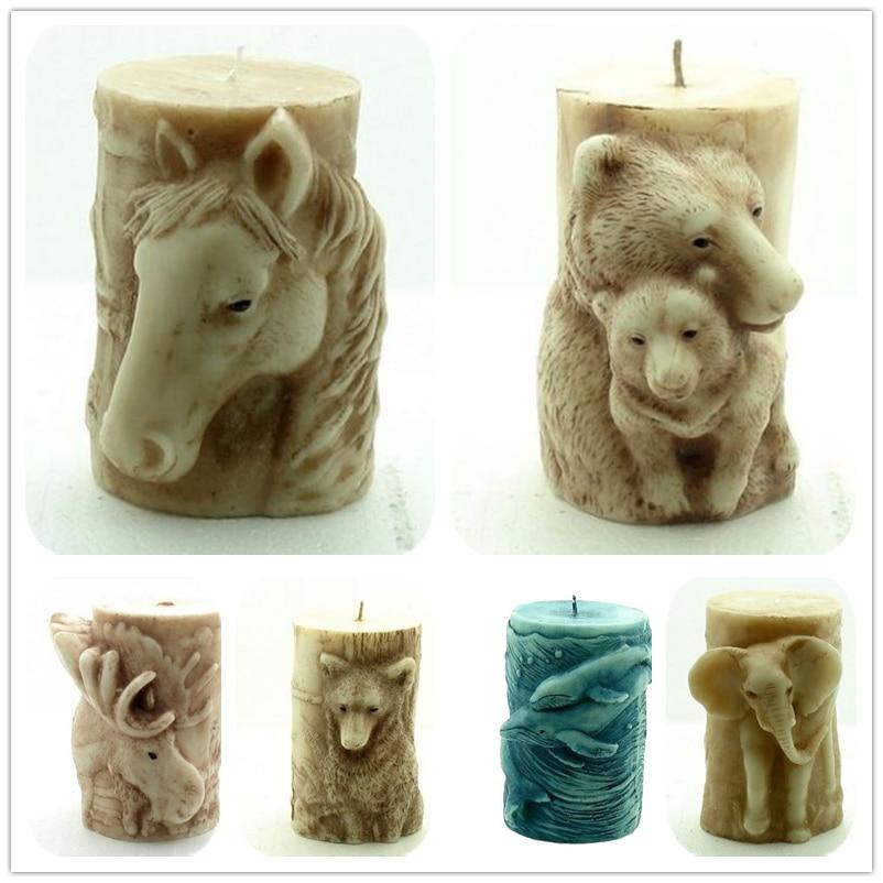 Silikoninės kolonėlės Žvakių formos Individualizuotos gyvūnų formos formos molio formų stalo dekoratyviniai įrankiai Dideli silikoniniai liejimo formos
