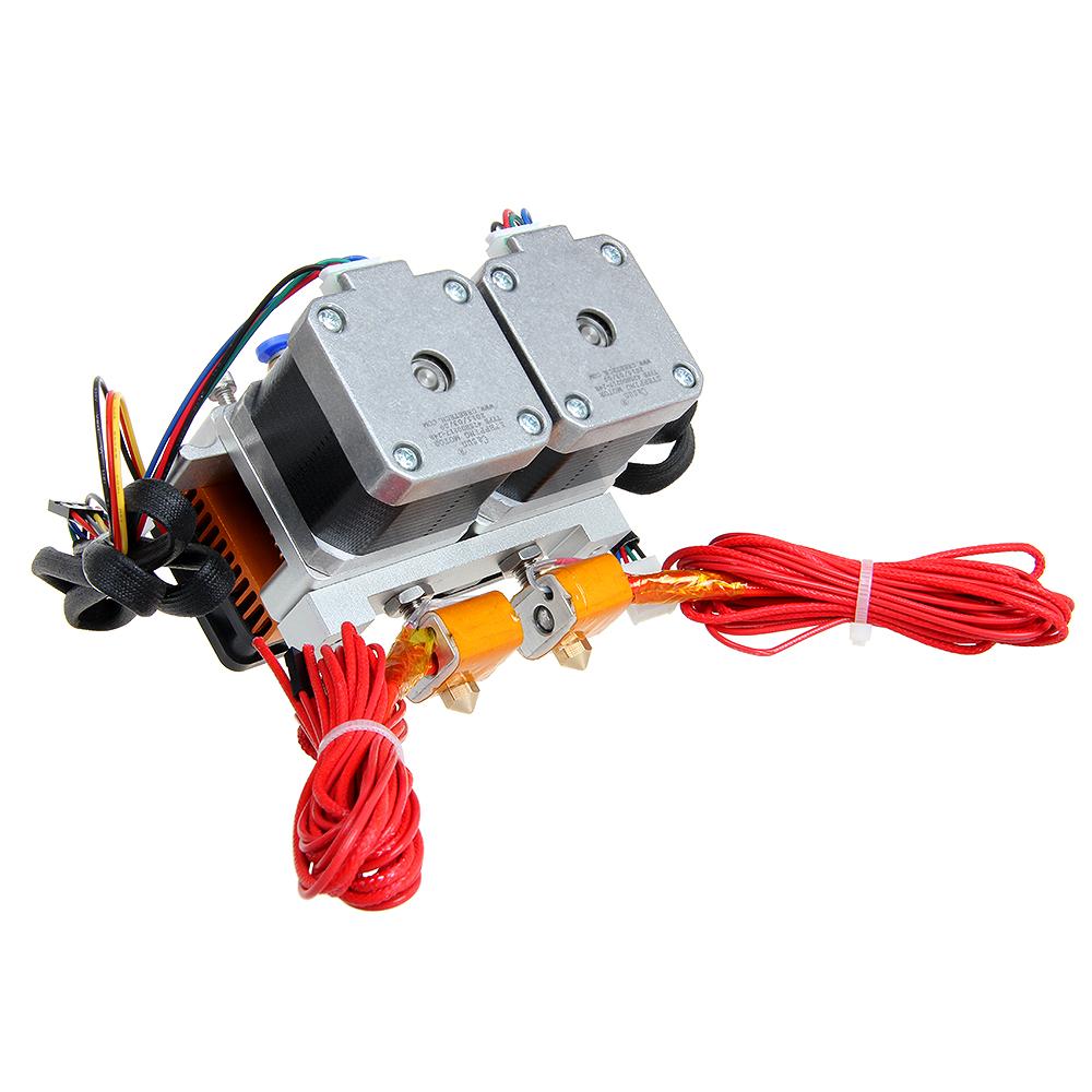 Free Shipping 0.3mm Nozzle Dual-Head MK8 Extruder for Reprap 3D Printer 1.75mm Filament