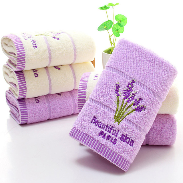 New Embroidered Cotton Lavender Face Towel 100 34x74cm Wedding Gift