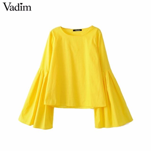 Vadim Women Stylish Flare Sleeve Pleated Yellow Blouses Sweet O Neck