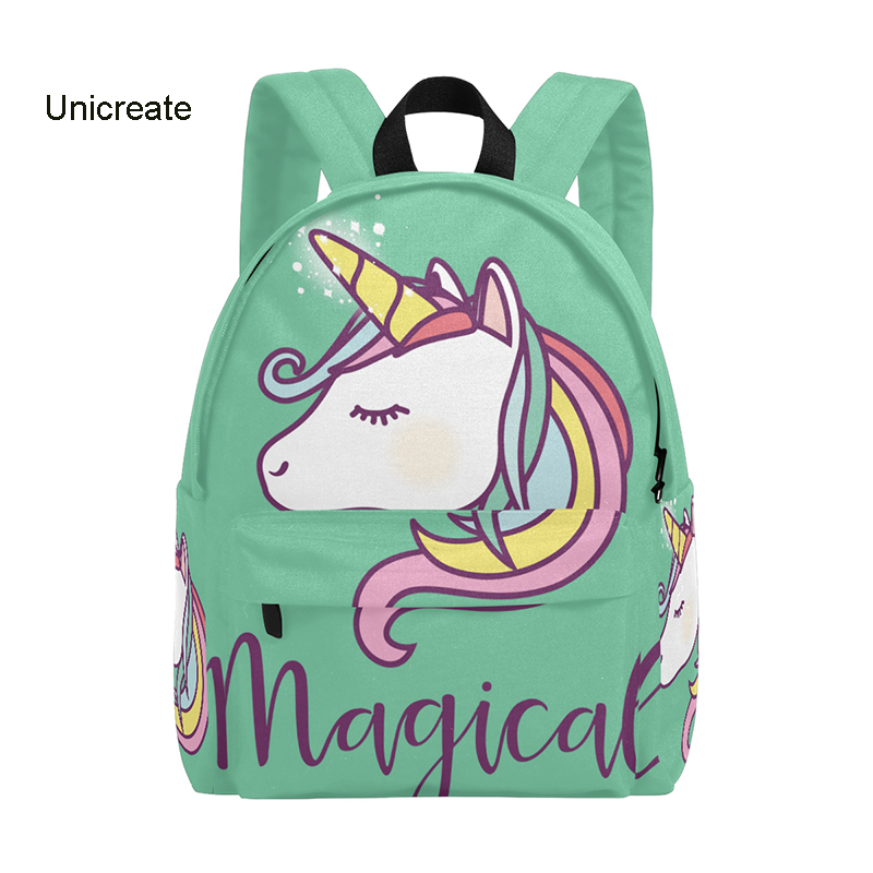 Unicorn Backpack 14inch Student Book Bags Canvas Zipper Backpack Travel Daypack Cartoon Girls' School Children Backpack 2018 New 2018 bendy and the ink machine backpack for children school bags cartoon game printing book backpack daily school backpack