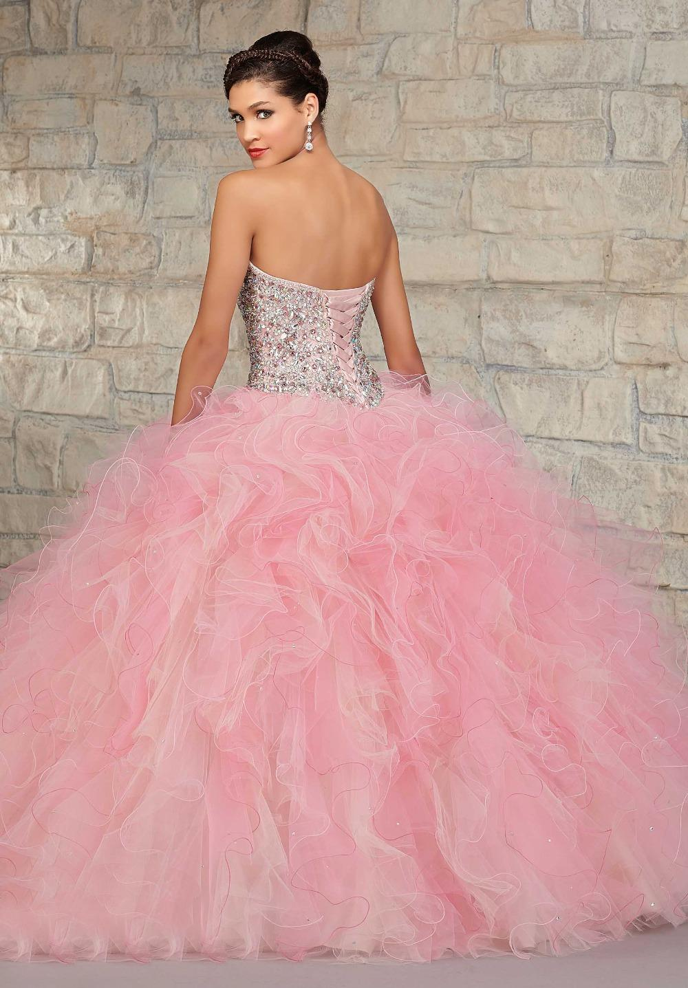 Elegant Strapless Beads Crystals Organza Puffy Light Pink Quinceanera  Dresses-in Quinceanera Dresses from Weddings   Events on Aliexpress.com  93c56a5cb1f3