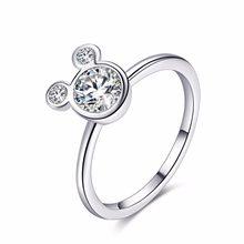 11df035eb5f5 2019 Color plata Mickey anillos para las mujeres las niñas espumosos de  boda anillos Pandora joyería Dropshipping. exclusivo. Ba.