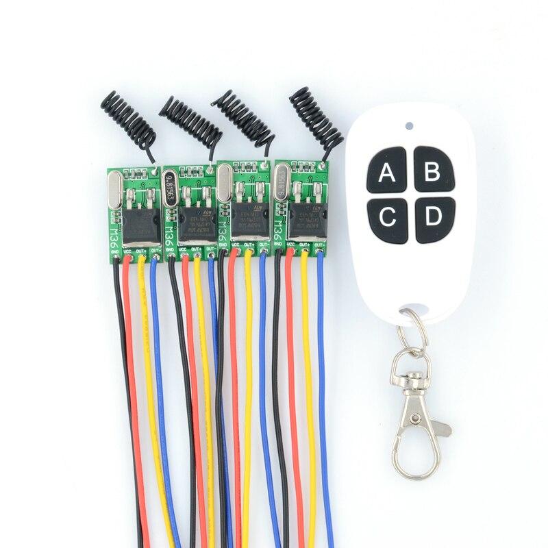DC6V-36V 6V 7.4 8.4V 7.6V 9V 12V 24V 16V 28V 36V 4PCS Wireless Remote Control Switches 315Mhz Mos Receiver No Sound