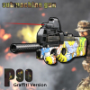 P90 Submachine Gun Graffiti Version Electric Continuous Firing Toy Guns Outdoor Fun Sports Live CS Game