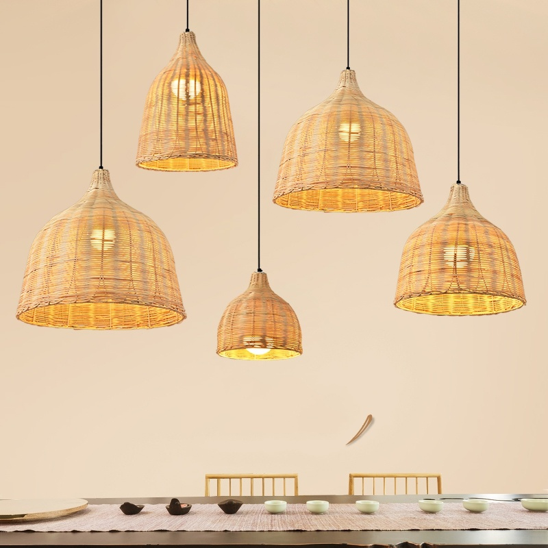 Rural Style Handmade Rattan Weaving Pendant Lights Restaurant Cafe Dining Room Hanglamp Home Decor Bamboo Loft Led Hanging Lamp