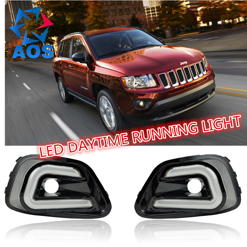 2PCs/set Daylight LED Car DRL Daytime Running Lights for Jeep Compass 2014 2015 with fog lamp 2pcs set waterproof led daylight drl lamp car led daytime running light for volkswagen vw jetta 2014 2015 fog lamp