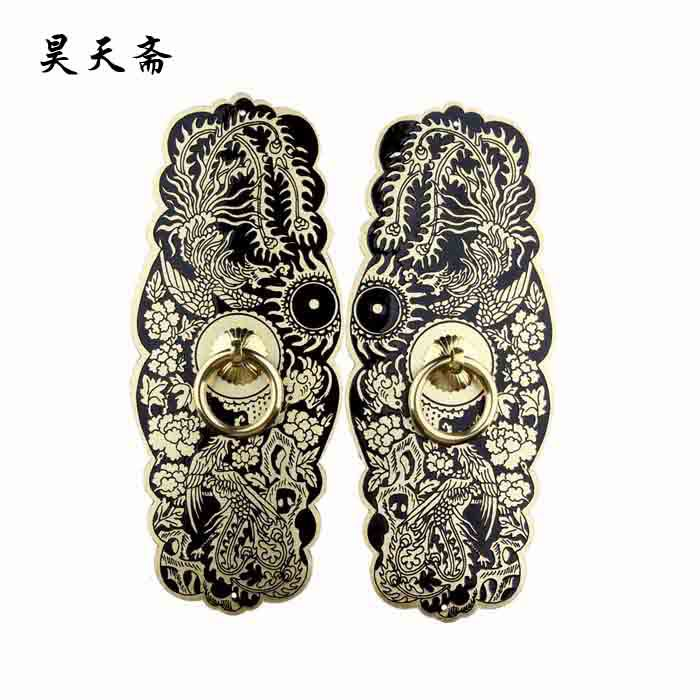 [Haotian vegetarian] copper door handle / copper handicrafts / Ming and Qing antique furniture, copper fittings HTB-002 [haotian vegetarian] ming and qing furniture antique copper fittings copper handle htb 009 18cm
