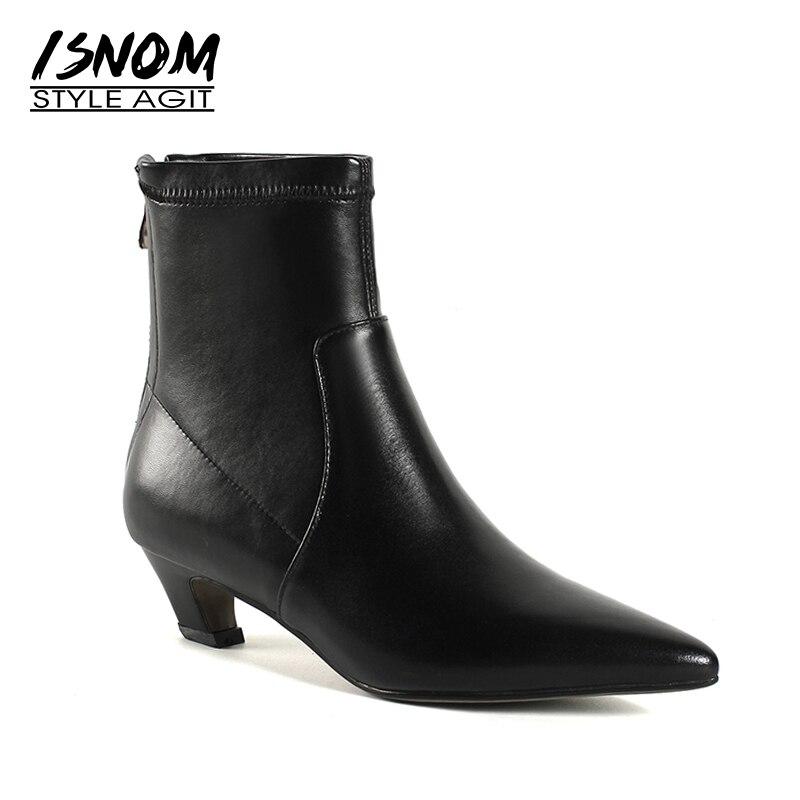 ISNOM 2018 Neue Herbst Stretch Frauen Stiefel Dick Heels Stiefel Spitz Weibliche Schuhe Zipper Winter Warm Echtem Leder Schuhe-in Knöchel-Boots aus Schuhe bei  Gruppe 1