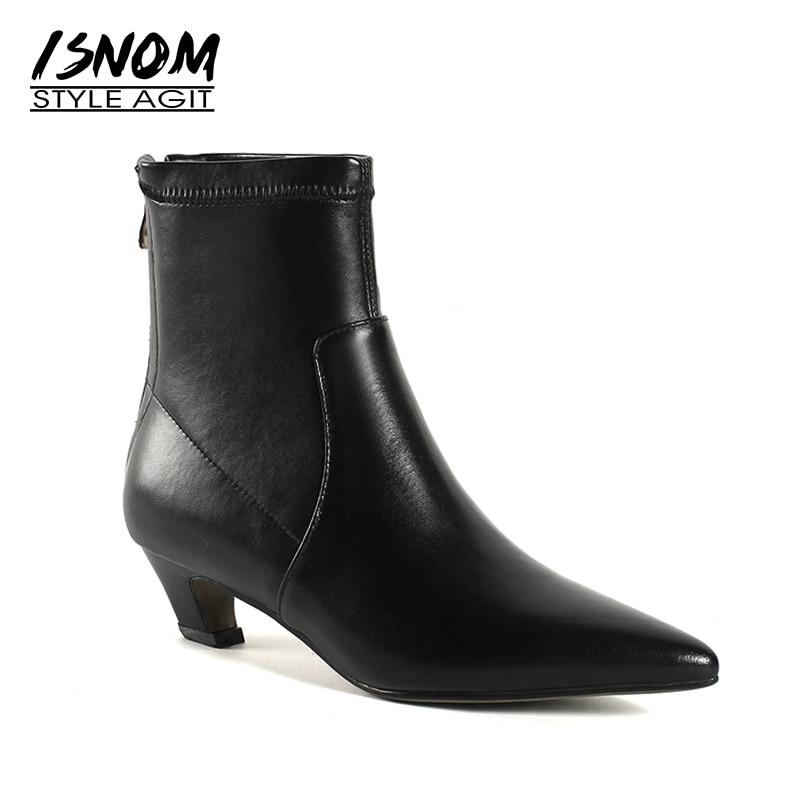 ISNOM 2018 nuevas botas de otoño para mujer con tacones gruesos botas de punta estrecha zapatos de mujer con cremallera invierno cálido calzado de cuero genuino-in Botas hasta el tobillo from zapatos    1