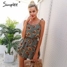 Simplee Casual floral print strap ruffles playsuits Two piece rompers women High waist drawstrings 2018 summer beach jumpsuit