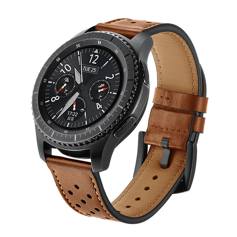 Kopeck Hole Style Genuine Leather Watch Strap for Samsung Gear S3 Classic Frontier Smart Bracelet Strap Replacement Watch Band genuine leather watchband bracelet strap for samsung gear s3 frontier classic sm r770 sm r760 sm r765 smart watch