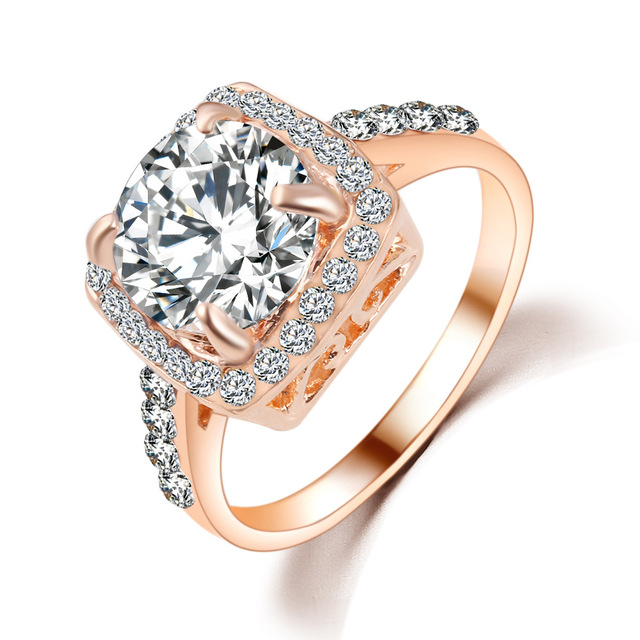 Hot Imitation White Gold And Rose Gold Square Zircon Ring New Female