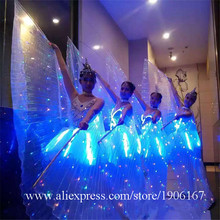 Led Luminous Evening Party Ballet Dress Women Stage Costumes Light Up Performance Clothes Christmas Halloween Led Clothing