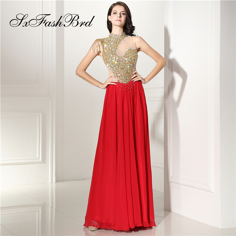 Robe Longue High Neck With Beading A Line Chiffon Long Formal Elegant   Dresses   for Women Evening Party   Prom     Dress