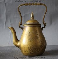 christmas Marked old chinese Bronze tree crane lucky Statue Teapot kettle Water Bottle halloween