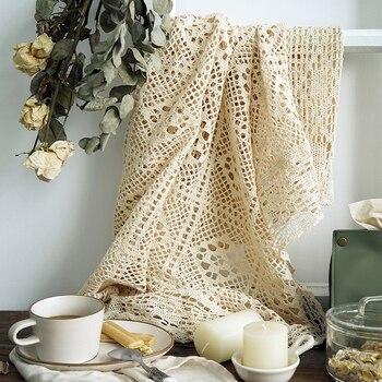 Mantel de encaje, mantel de algodón Crothet, mantel de boda Vintage, decoración de hogar, comedor, fiesta, vacaciones, blanco