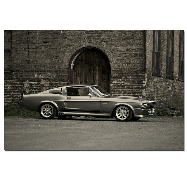 Ford Mustang Shelby GT500 Muscle Car Poster Canvas Cloth Fabric Print For Home  Decor Wall Art
